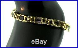 Estate 14K Yellow Gold Semi Precious Stone Chunky Link BRACELET 15g