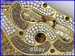 FINESSE LA MODEL Vintage GoldenSnakeSkin Clutch Semiprecious Stones Shoulder Str