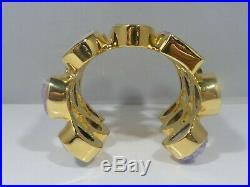 Fab Gold Plated And Semi Precious Stone Runway Cuff Bracelet