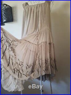 Fabulous All Saints Thalia Silk-semi Precious Stone Dress, Size Uk12,14 Rrp £250