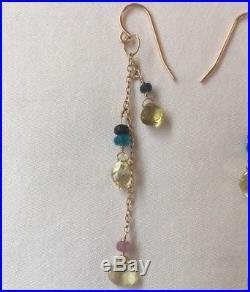GORGEOUS14K Rose Gold Semiprecious Stone Drop Dangling Earrings Boho Classy