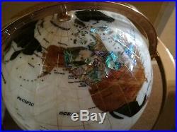 Gemstone World Globe with Inlaid Semi-Precious Gem Stone/Mother of Pearl