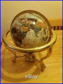 Gemstone World Globe with inlaid semi precious gem stones / mother of pearl