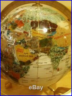 Gemstone World Map.Gemstone World Globe With Inlaid Semi Precious Gem Stones Mother