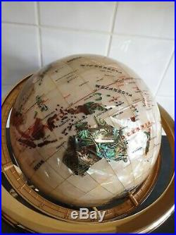 Gemstone world globe with semi-precious stone and mother of pearl