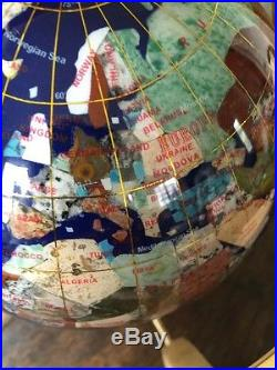 Globe Of Earth Made Wth Semi-precious Stones And Brass Stand Beautiful