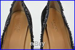 Gucci High Heel Shoes Grey with Semi Precious Stone Accents Size 9.5