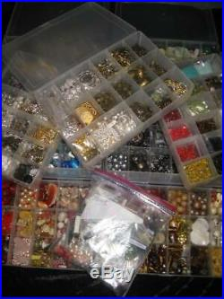 HUGE Jewelry Making Supplies Lot Glass Beads Stones Semi-Precious Gemstones