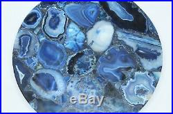 Handmade Semi precious coffee side Round table top Natural Blue Agate stone