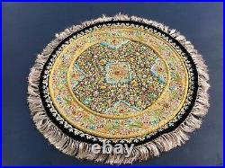 Handmade Zardozi Wall Hanging Tapestry Rug Semi Precious Stones Kashmir