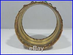 Heavy Wide Sterling Silver Vermeil Cuff Bracelet With Semi Precious Stones
