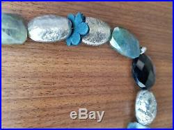 Henry Beguelin handmade necklace in semi-precious stones, silver and leather
