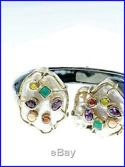Hinged Bangle Bracelet moby Pearls And Semi-precious Stones