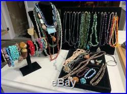 Huge Vintage Stone Jewelry Lot Semi-Precious Gemstones Necklaces Bracelets