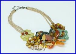 Iris Apfel Style Semiprecious Stone Agate Flower Necklace