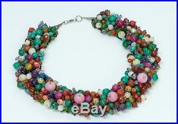 Iris Apfel Style Tutti Frutti Semiprecious Stones Necklace