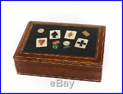 Italian Pietra Dura Playing Poker Card Case with Semi Precious Stones