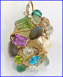 Kazuko Rare Multi Precious & Semi Precious Stones Gold Wire Wrapped Lg. Pendant