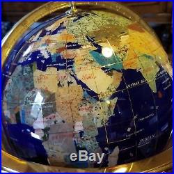 Lapis brass gemstone world globe semi precious stone inlays lapis brass gemstone world globe semi precious stone inlays compass in stand gumiabroncs Image collections
