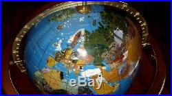 LARGE 300mm BLUE GEMSTONE GLOBE SEMI PRECIOUS STONES ON BRASS STAND WITH COMPASS