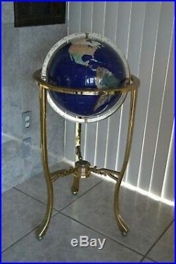 Lapis Gemstone Mosaic Tile World Globe Brass Floor Stand, Semi-Precious Stones