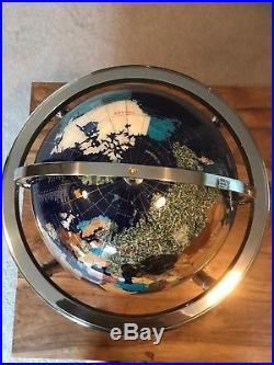 Large Blue Lapis Gemstone Globe. Semi precious stones. Brass Stand With Compass