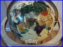 Large Heavy Gemstone World Globe on Long Brass Stand Semi Precious Stones 85cm