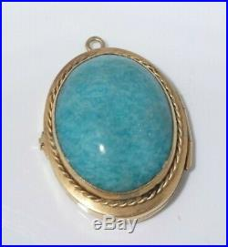 Large Isreali 14k Gold Locket Charm With Semi Precious Stone