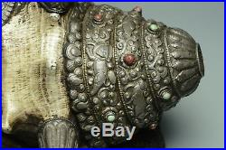 Large Sino-tibetan Silver & Conch Shell Trumpet Inlaid With Semi-precious Stones