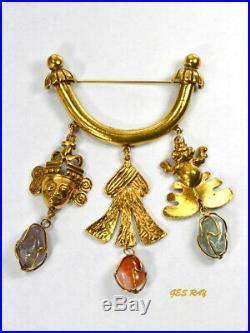Lawrence Larry Vrba Castlecliff Brooch Aztec Mayan Semi Precious Caged Stones