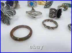 Lot 0f 15 Sterling Silver And Semi Precious Stone Rings