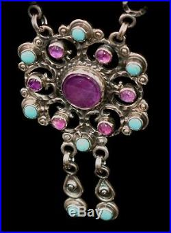 Magnificent Vtg SOLID STERLING Amethyst &TURQUOISE Semi Precious Stones NECKLACE
