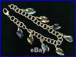 Multi-Color 14k Yellow Gold Charm Bracelet withsemi-precious stones CLOSE-OUT
