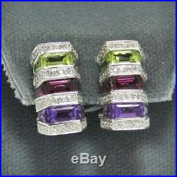 Multi Color Semi Precious Stone Diamond Hoops 14K White Gold Earrings