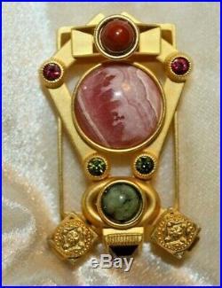 NATASHA STAMBOULI Vintage Gold Plated Semi Precious Stones Brooch