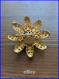 Natasha Stambouli Brooch Pin Vintage Signed Semi-Precious Stones