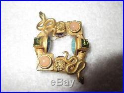 Natasha Stambouli Egyptian Revival Snake Pin Gold Plated Semi Precious Stones
