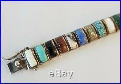 Native American BETTY SANEL Sterling Silver Semiprecious Stones LINK BRACELET 7