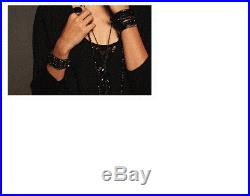 New Chan Luu Black Cuff Bracelet Semi Precious Stones & Indian Beads Retail $225