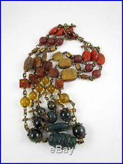 Outstanding Stephen Dweck Bronze Semi Precious Stone Triple Strand Necklace