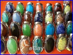 Peru 80 BIG RINGS SEMI PRECIOUS STONES Adjustable Buy lots 8,20,40,80,150 other
