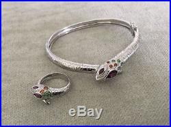 ROSS SIMONS Semi-Precious Stones, Diamond, Sterling Silver Snake Bracelet & Ring