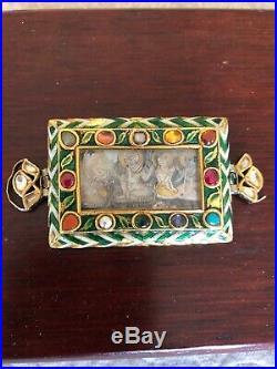 Rare Antique 18th C Jaipur India Buckle 18K Gold Diamonds Semi Precious Stones