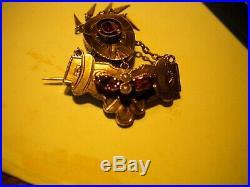 Rare & Beautiful 10kt Gold-semi Precious Stones-1880s Victorian Pin
