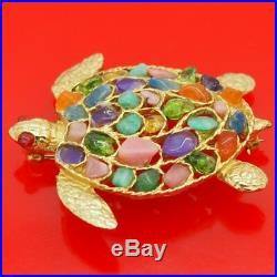 Rare CORO Gold Tone Multi Color Semi Precious Gem Stones Turtle Brooch Pin
