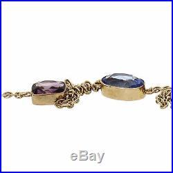 Rare Long Chain 40 Inches 13.8cts Semi Precious Stones 14k Yellow Gold
