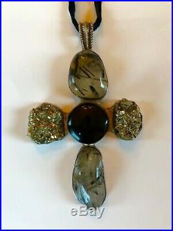 Rebecca Collins SIGNED Sterling Silver & Semi-precious Stone Large Cross Pendant