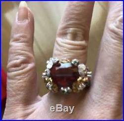Ring semi-precious stones color stone flower motif