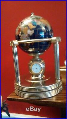 Rotating Brass Semi Precious Stone World Globe Clock / Thermometer / Hygrometer