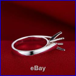 Round 8.5mm Semi Mount Ring Precious Metal without Stones Solid 18K White Gold